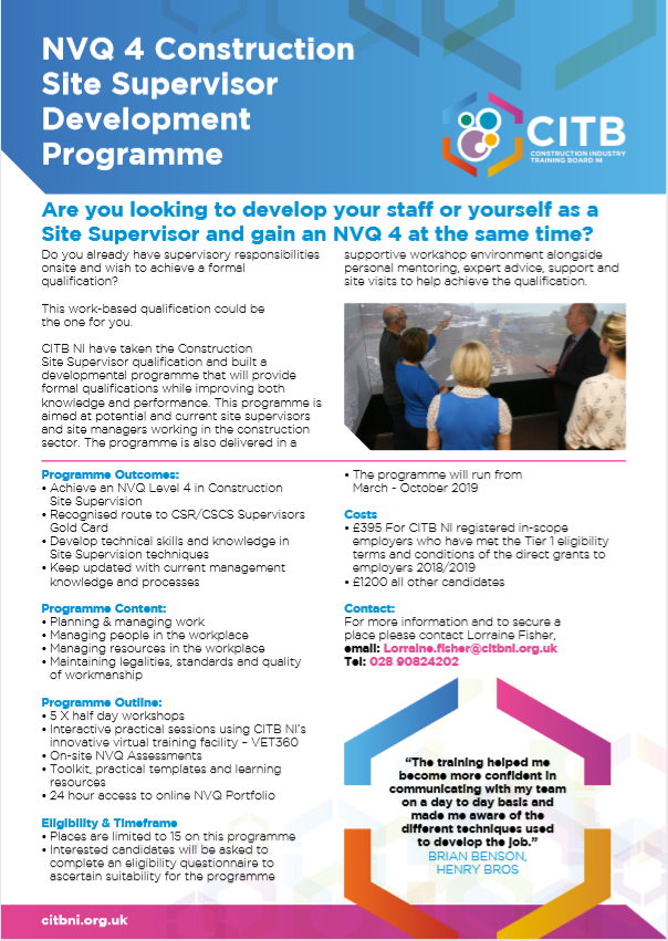 NVQ4 Programme in Northern Ireland with CITBNI
